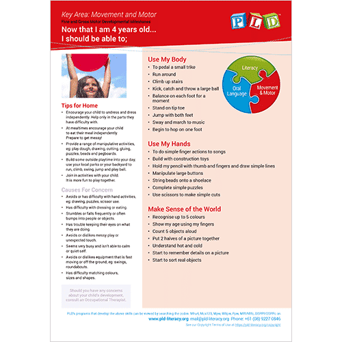 Fine and Gross Motor Developmental Milestones - Ages 4 and 5
