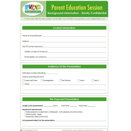 PLD Parent Education Session Form