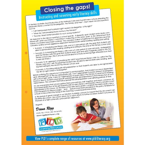 Closing the Gaps. Instructing & Screening Early Literacy Skills