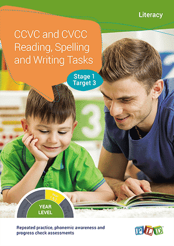 CCVC and CVCC Reading, Spelling and Writing Tasks - Stage 1 - Target 3