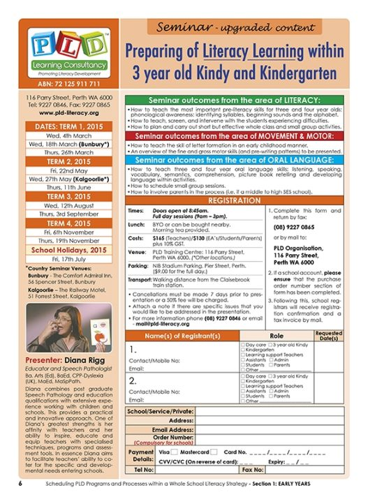 Seminar - 3 year old Kindy & Kindergarten Pre and Early Literacy Skills within the early years