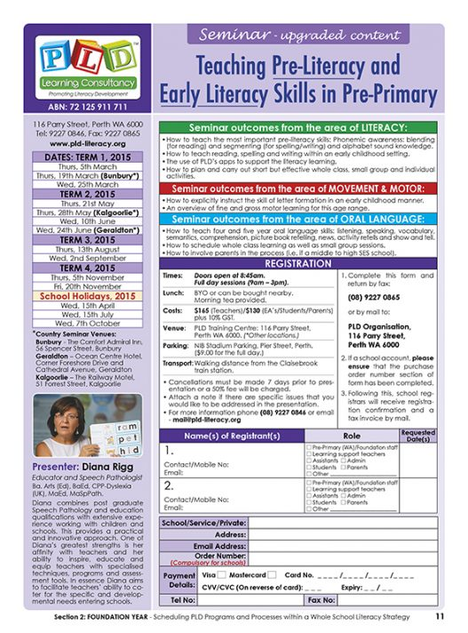 Seminar - Pre-Primary or the Foundation School Year Teaching pre and early literacy skills