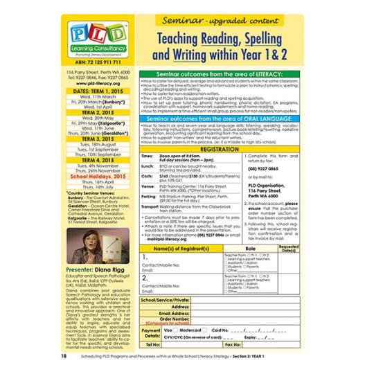 Seminar - Teaching reading spelling and writing within Year 1 and 2 classes