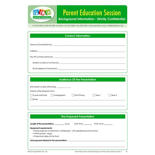 Parent Education Sessions Background Information