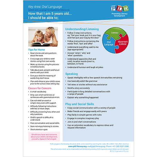 Speech & language development posters and sheets - 5 year old