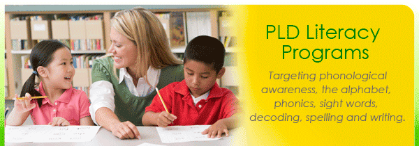 Literacy programs targeting phonological awareness, the alphabet, phonics, sight words, spelling and writing