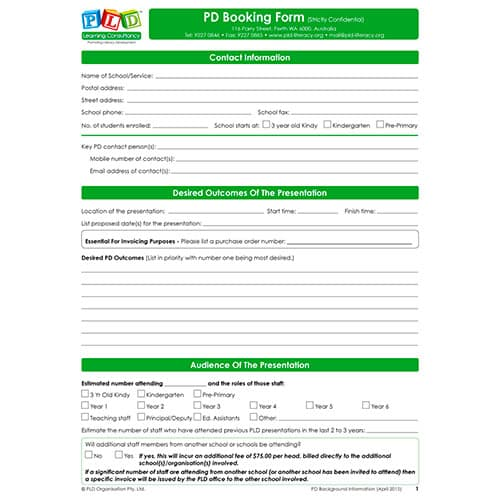 PD Booking Information Form
