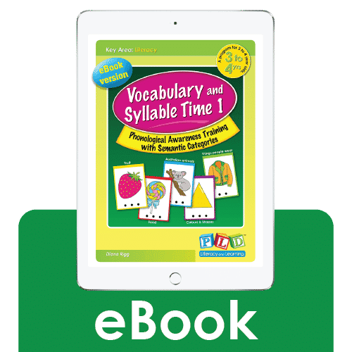 Vocabulary and syllable time 1 (eBook) for 3-4 year olds