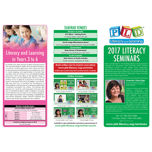PLD seminars 2017 flyer PLD Literacy and Learning – Seminar Flyer