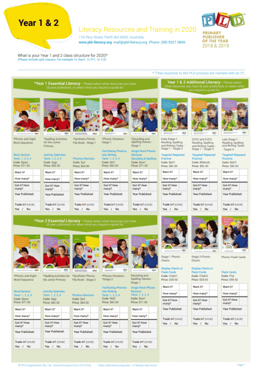 Selected Literacy Resources and Training Year 1 and 2 in 2020