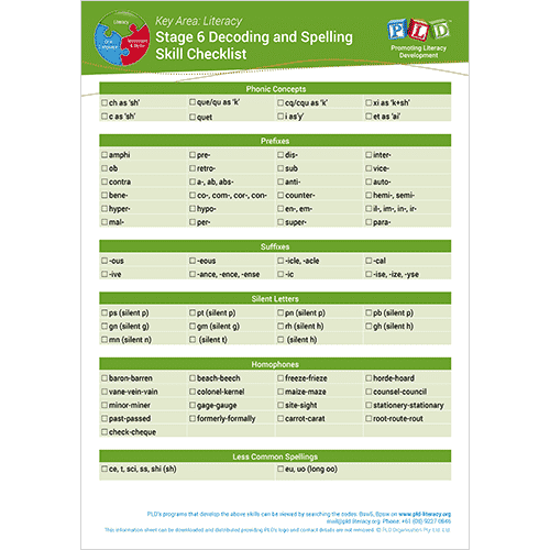 Spelling and Decoding Skills Checklist - Stage 6