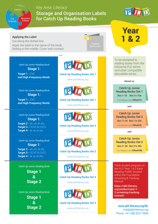 Year 1 & 2 – Catch Up Junior Reading Books – Storage & Organisation Labels for Decodable Reading Books
