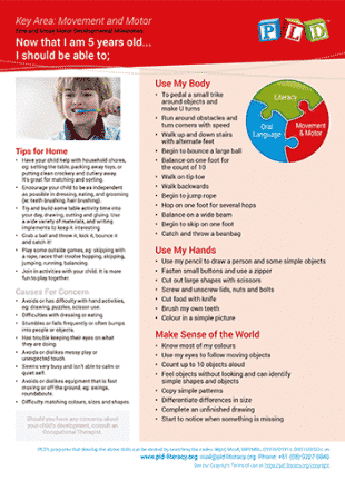 Fine and Gross Motor Developmental Milestones - Age 5