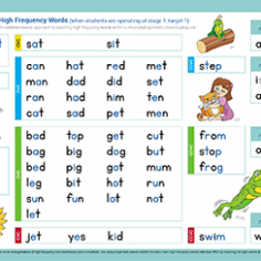 Phonic Sight Word Sequence Chart - Stage 1 Target 2 & 3